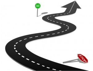 Success highway curve stop go sign progress