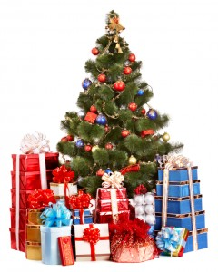 Christmas tree and group gift box.